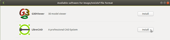 GNOME Software suggests applications to open DXF