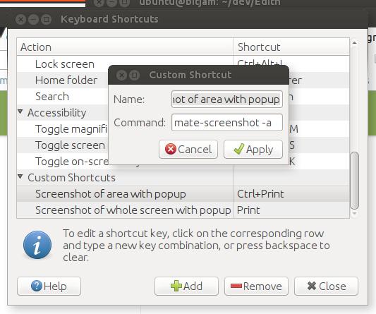 Keyboard shortcuts for mate-screenshot - Support & Help