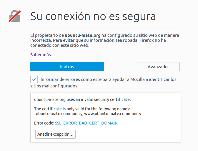 uses an invalid security certificate firefox