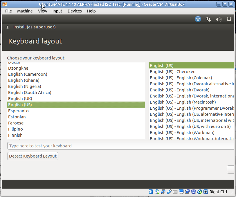 During install on VM, keyboard layout screen wider than
