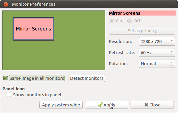 Possible to make mirroring of laptop screen to an HDMI