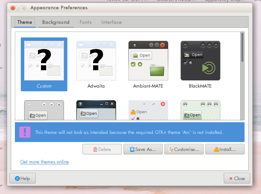 Arc and other themes on Ubuntu MATE 16 10 are partially
